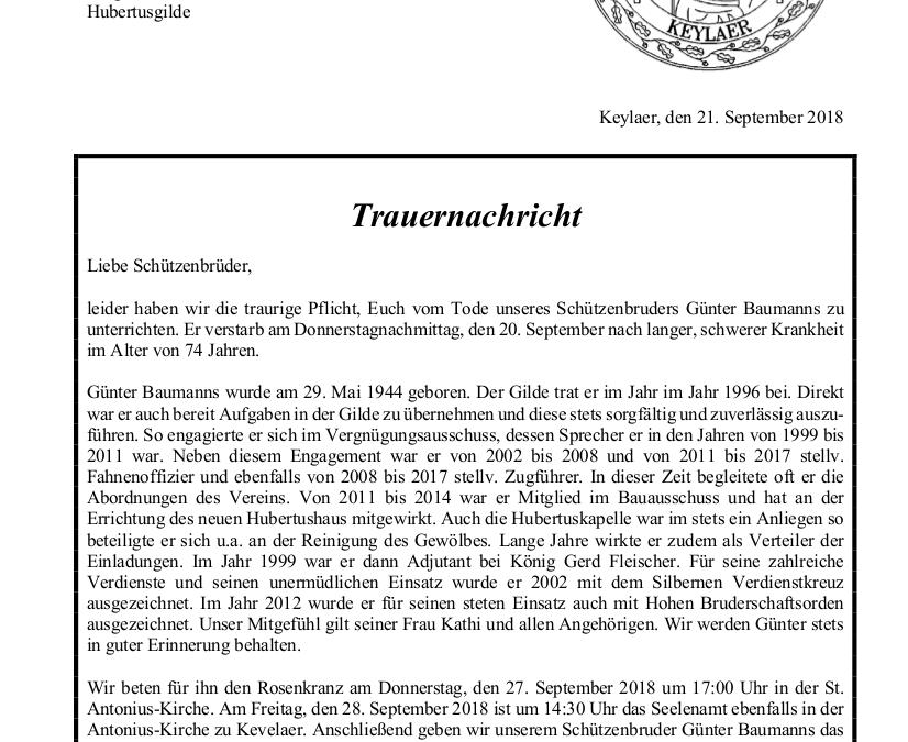 Trauernachricht Peter Breidenbach