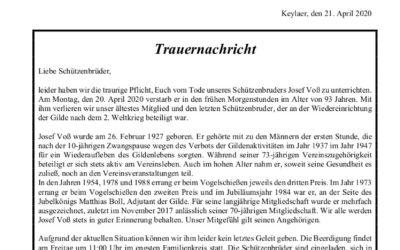 Trauernachricht Josef Voss
