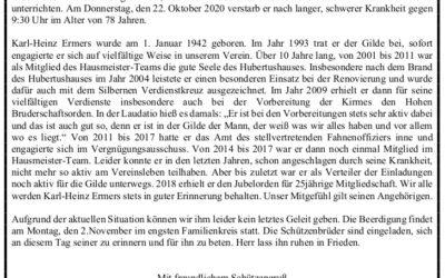 Trauernachricht Norbert Waerder